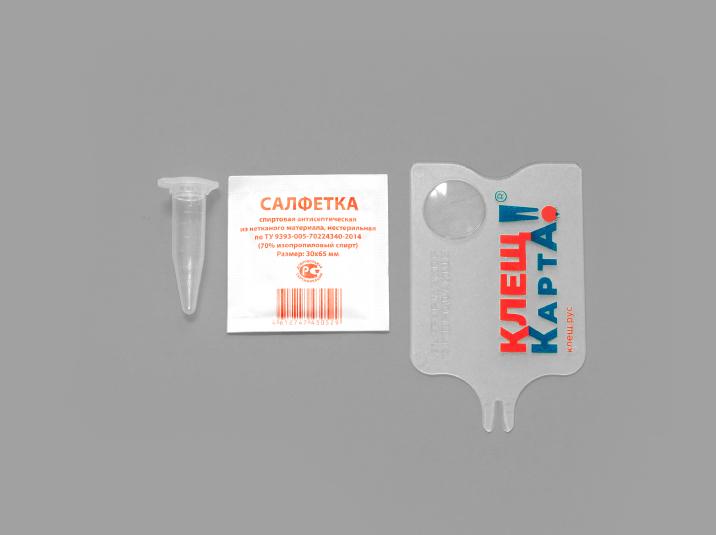 Удобный набор для удаления клещей с пробиркой для анализа и спиртовой салфеткой.